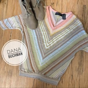 Dana Buchanan Petite V-Neck Striped Top [small]